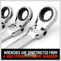 10Pc 8-22mm Flexible Head Ratcheting Wrench Combination Spanner Auto Tool Metric
