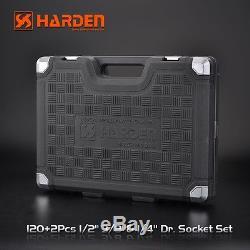 120pcs Socket Ratchet Set 1/2, 1/4 & 3/8 Metric + 11 x Combination Spanners