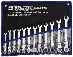 12pcs Flex-Head Combination Wrench Set Ratcheting Duo Metric SAE