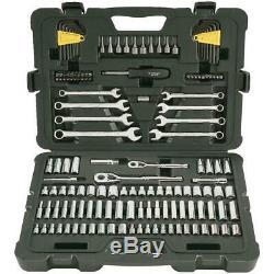 145 Piece Wrenches Sockets Ratchets Hex Keys Drive Nut Bits Mechanics Tool Set