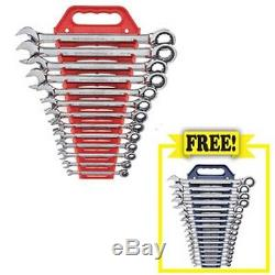 16Pc Metric 12-Point Combination Ratcheting Wrench Set with FREE 13-Piece SAE Co