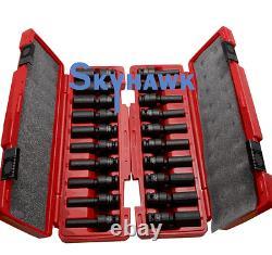20 Pc 1/2 Drive Universal Swivel Deep Impact Socket Set PRO Radius SAE/Metric