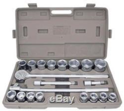 21 Pc 3/4 Dr Socket Set Sae Extension Bars Breaker Bar Ratchet 6 Point Jumbo