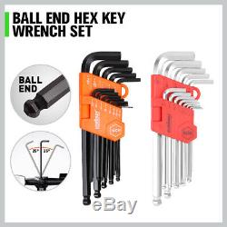 22pc Combination Ratcheting Wrench Set Metric MM Standard SAE Free Of 26 Hex Key