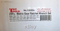 25 Pc T&E Heavy Duty Metric Ratcheting Combination Wrench Set 13025A
