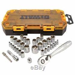 34 Piece Drive Socket Set 1/4 & 3/8 Metric Drive Drill Adaptor Ratchet DeWalt