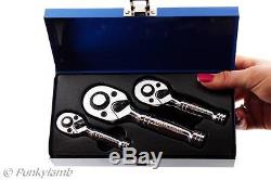 3Pc Professional 1/4 3/8 1/2 Stubby Ratchet Handle Wrench 72 Teeth Tool Set