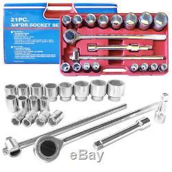 3/4 Drive Socket Set 21pc Standard Reversible Ratchet Wrench 6pt Chrome