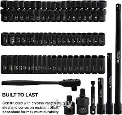 3/8 Drive Impact Socket Set 44 Piece Deep And Assorted Sizes