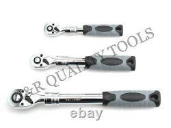 3pc Extendable Handle Ratcheting Socket Set (1/43/81/2dr) Quick Release