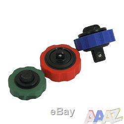 3pc Thumbwheel Palm Ratchet Wrench Socket Adapter Tool Set 1/4, 3/8, 1/2