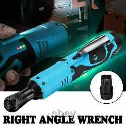 42V 100Nm 3/8'' Electric Cordless Ratchet Right Angle Wrench Tool Set +2 Battery