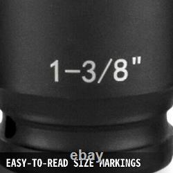43 Pcs Impact Socket Set 1/2 Inch ASE Standard 19Pcs Deep 6-Point Extension Bar