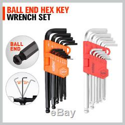 48Pc Wrench Set Ratchet Spanner & Hex Key SAE Metric Allen Key WithT Rolling Pouch