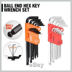 48pc Combination Spanners Ratchet Wrench Allen Key Kit Metric 6-18mm SAE 1/4-3/4