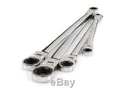 4 Pc Extra Long Flex Head Ratcheting Wrench Set with Storage Keeper Tekton