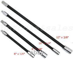 4pc Flexible Socket Extension Bar Set 6 8 10 12 Ratchet Flex 1/4 & 3/8 DR