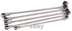 5 Pc. XL Ratcheting Wrench Set with 10 Metric Sizes PLT-99650 Brand New