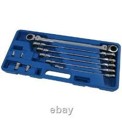 6pc Extra Long Flexi Head Double Ended Ratchet Spanner Set & Adaptors 8 19mm