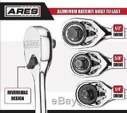 90 Tooth Aluminum Ratchet Set Ergonomic Handle And Reversible Head Sealed Design