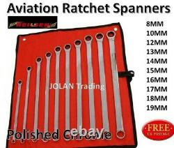 Aviation Ratchet Spanner Ring Open Wrench Set Extra Long Double Ring Gear 4465