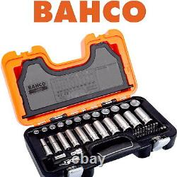 BAHCO 53 Piece Ratchet Socket Set 3/8 Deep Metric & 1/4 Screwdriver Bits S330L