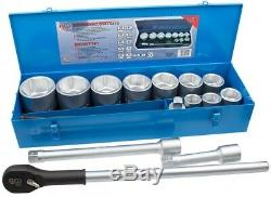 BGS Germany 15-pcs Reversible Ratchet Wrench Metric Socket Set 1 Drive 36-80mm