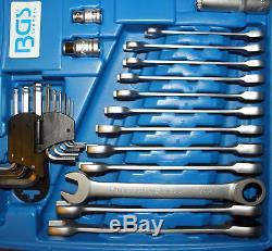 BGS Germany 176-pcs Ratchet Wrench Metric SAE AF Socket Set 1/2dr 3/8dr 1/4dr