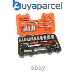 Bahco 56 Piece 1/4 + 1/2 Metric Ratchet Socket Set & Extensions S560 BAHS560
