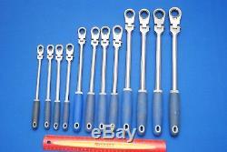 Blue-Point 12 Piece 12-Point Metric Locking Flex-Head Ratcheting Box Wrench Set