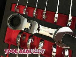 Britool Hallmark 8mm-19mm Short Ratcheting Flexi Head Spanner Wrench Tool Set
