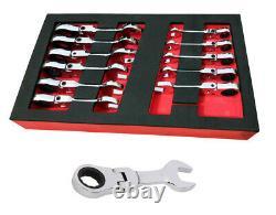 Britool Hallmark Flexi Ratchet Spanner Wrench Set, Stubby Design 8-19mm