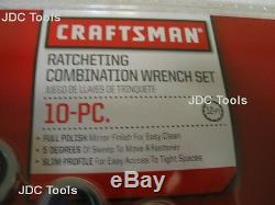 CRAFTSMAN 10 pc POLISHED COMBINATION RATCHETING WRENCH SET ALL METRIC 6MM-18MM