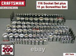 CRAFTSMAN 127pc 1/4 3/8 1/2 SAE&METRIC MM 6pt 12pt ratchet wrench socket set 116