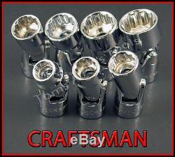 CRAFTSMAN HAND TOOLS 7pc 3/8 12Pt SAE Universal Flex ratchet wrench socket set