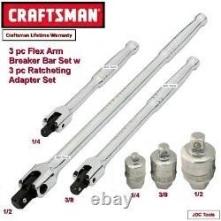 CRAFTSMAN TOOLS 3 pc Flex Arm Bar Set w 3 pc Ratcheting Adapter Set