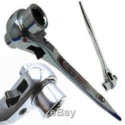 Chrome Ratchet Podger Spanner Steel Erecting Tool Podger 10mm 30mm Crv Steel
