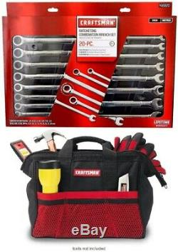 Craftsman 20 Piece Pc Ratcheting Combination Wrench Set Inch//Metric 41220 NEW