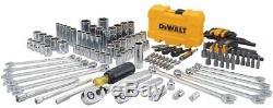 DEWALT Chrome Mechanics Tool Set Ratchet Socket Wrenches Hex Keys Bits 142 Piece