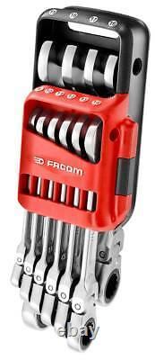 Facom 467BF. JP10 10 Piece Flexi Head Anti-Slip Ratchet Combination Spanner Set