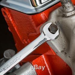 Full-Polished Chrome SAE/Metric Combination Ratcheting Wrench 20-Pcs Tool Set