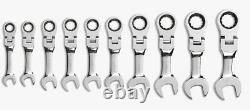 GearWrench 9550 10 Pc 12 Pt STUBBY FLEX RATCHETING COMBINATION METRIC WRENCH SET