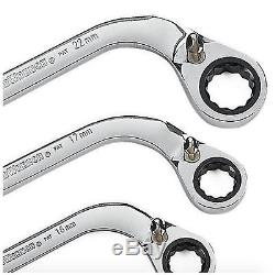 GearWrench S Shaped Reversible Double Box Ratcheting Wrench Set 5 Wrenches Tool