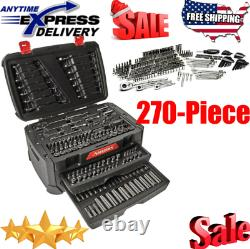 HUSKY 270-PIECE MECHANICS TOOL SET with Case SAE Metric Sockets Wrenches Ratchets