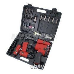 Heavy Duty 33pc 1/2 Impact Wrench 1/2 Air Ratchet 1/4 Die Grinder Air Hammer