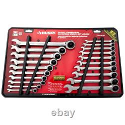 Husky SAE/Metric 72-Tooth Ratcheting Wrench Set Alloy Steel 20-Piece