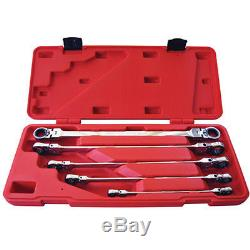 K Tool 43500 Ratcheting, Double Box End, Flexible Wrench Set, 5 Piece