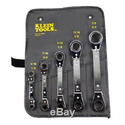 Klein Tools 68245 Fully Reversible Ratcheting Offset Box Wrench Set, 5-Piece