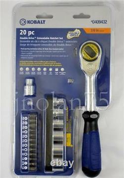 Kobalt 20 Pc Piece Double Drive Extendable Handle 3/8 Ratchet Socket Tool Set