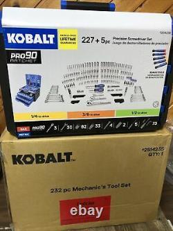 Kobalt 232 Pc Standard SAE and Metric Polished Chrome Mechanics Tool Sets New